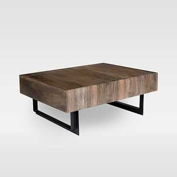 Modern Solid Wood + Iron Storage Coffee Table - West Elm