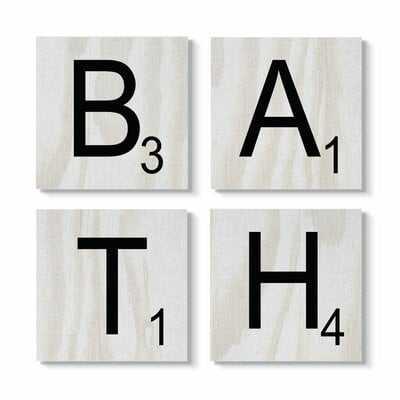 'Bath Scrabble Letters Bathroom Wood Texture Design' 4 Piece Textual Art Set on Canvas - Wayfair