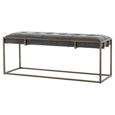 Ulysses Industrial Lodge Tufted Brown Leather Antique Brass Bench - Kathy Kuo Home