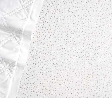 Micah Metallic Star Crib Fitted Sheet, Ivory - Pottery Barn Kids