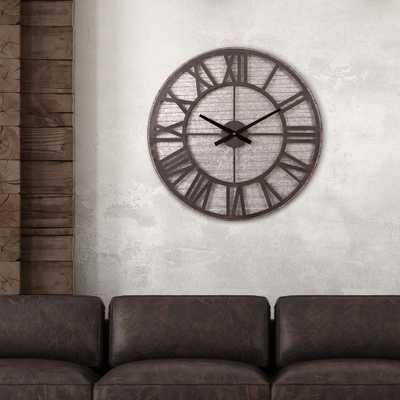 Rustic Galvanized Metal Cut Out Black Wall Clock - Home Depot