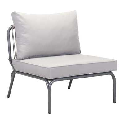ZUO Pier Wicker Outdoor Patio Lounge Chair with Gray Cushion in Gray - Home Depot