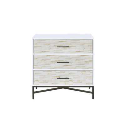 Acme Furniture Uma White and Black Nightstand - Home Depot