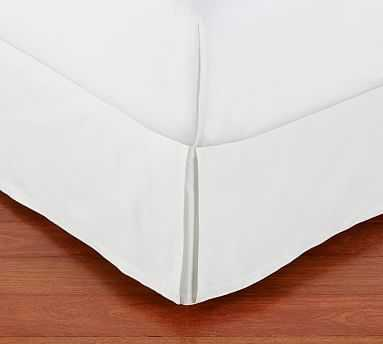 """PB Basic Pleated Bed Skirt, 14"""" Drop, Queen, Organic Cotton Twill White - Pottery Barn"""