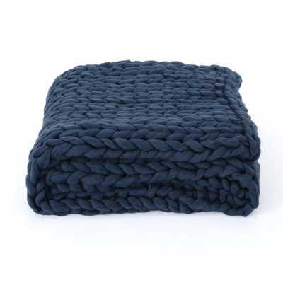 Marnie Blue Acrylic Throw Blanket - Home Depot
