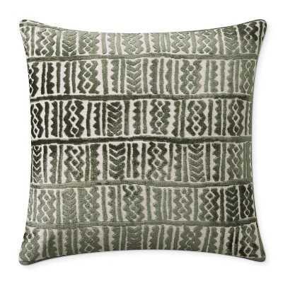 """Aswan Velvet Jacquard Pillow Cover, 22"""" X 22"""", Green - Williams Sonoma"""