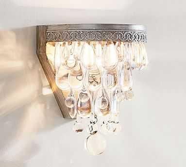 Clarissa Glass Drop Sconce, Antique Silver finish - Pottery Barn