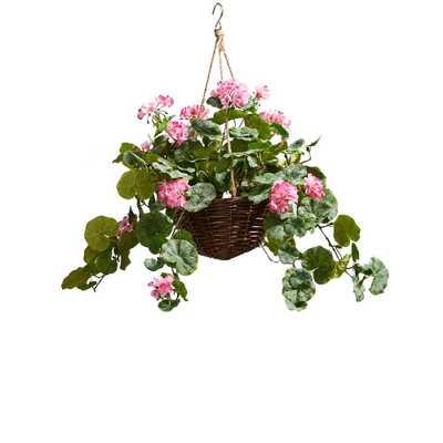Pure Garden Faux Hot Pink Geranium Flower Arrangement with Hanging Basket - Home Depot