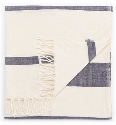 Jurnee Blue/ Cream Stripe Throw (50X60) - Collective Weavers