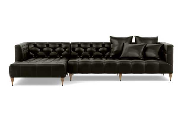 Ms. Chesterfield leather Chaise Sectional with Tobacco and White Oak with Antique Cap legs - Interior Define