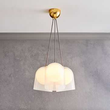 Duet Chandelier, 3 Light, Transparent White, Antique Brass - West Elm