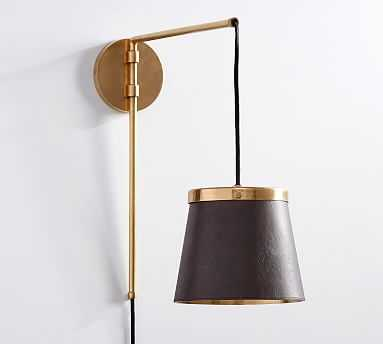 The Emily and Meritt Leather Sconce with Plug-in, Leather/Brass - Pottery Barn