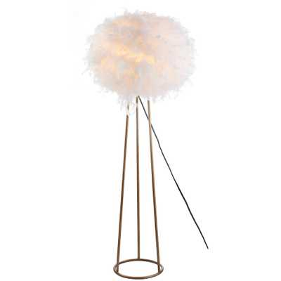 """JONATHAN Y Stork 52"""" Feather Metal LED Floor Lamp, White/Gold - Home Depot"""