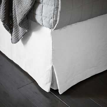 Belgian Linen Bedskirt, King, White - West Elm