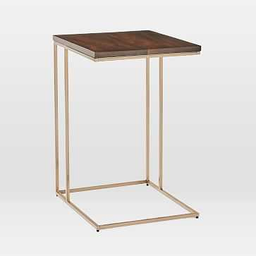 Streamline C-Side Table, Dark Walnut, Light Bronze - West Elm