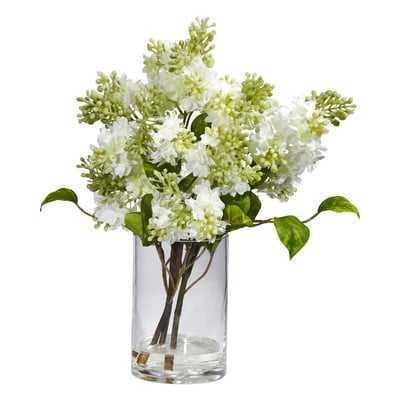 Quincy Lilac Silk Flower Arrangement in Vase - Birch Lane