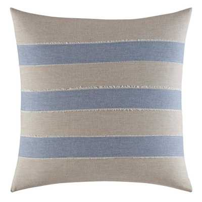 16 in. x 16 in. Abbot Stripe Applique Beige Square Throw Pillow, White - Home Depot