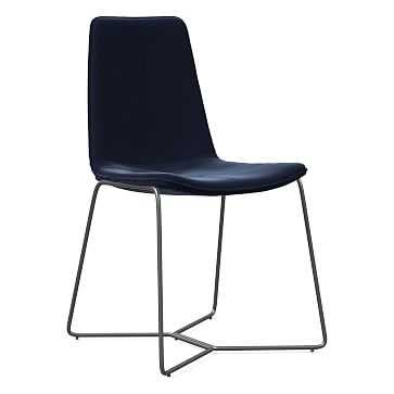 Slope Dining Chair, Charcoal Leg, Distressed Velvet, Ink Blue, Charcoal - West Elm