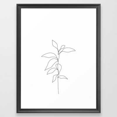 Single line plant drawing - Danya Framed Art Print by Thecolourstudy - Society6