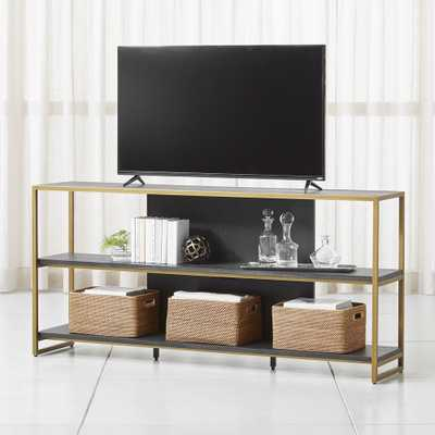 "Oxford 80"" Black Wood Media Console - Crate and Barrel"