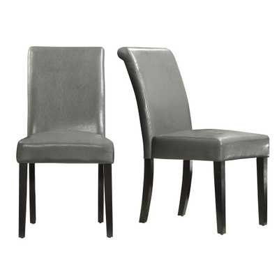 Fairfield Stone (Grey) Faux Leather Dining Chair (Set of 2) - Home Depot