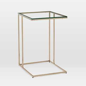 Streamline C-Side Table, Glass, Light Gold - West Elm