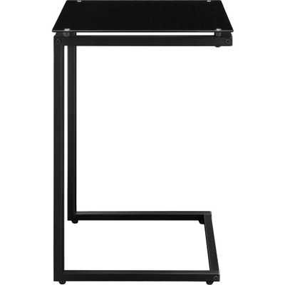 Ridley Black Glass Top C Table - Home Depot