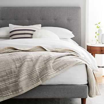 Double Cloth Offset Stripe Blanket, King, Platinum - West Elm