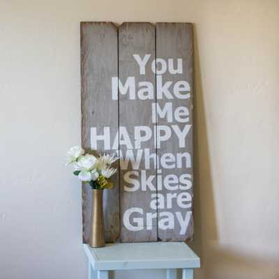 """18 in. x 36 in. """"You Make Me Happy"""" by Boulder Innovations Printed Wood Art - Home Depot"""