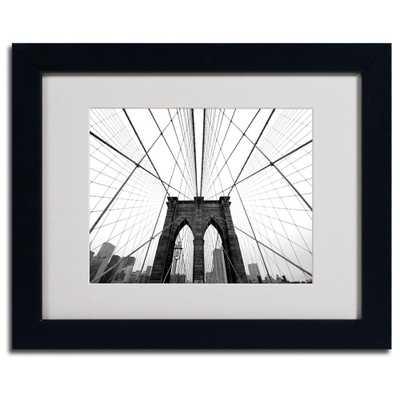 11 in. x 14 in. NYC, Brooklyn Bridge Matted Framed Art, Black - Home Depot