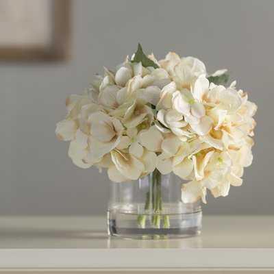 Hydrangea Floral Arrangement in Glass Vase - Birch Lane