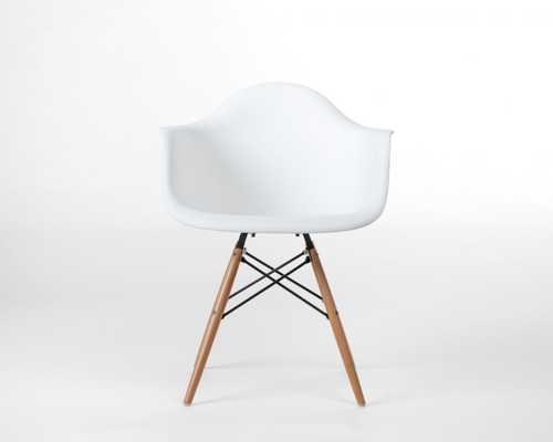 Daw Molded Plastic Armchair Wooden Dowel Base - White Wood Dowel - Rove Concepts