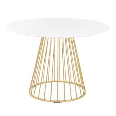 Lumisource Canary White and Gold Round Dining Table, White/Gold - Home Depot