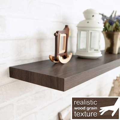 Grenada 30.6 in. W x 8 in. D zBoard Paperboard Textured Grain Wall Shelf Decorative Floating Shelf in Dark Teak - Home Depot