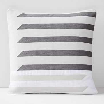 "Crewel Shadow Bars Pillow Cover, Belgian Flax, 20""x20"" - West Elm"