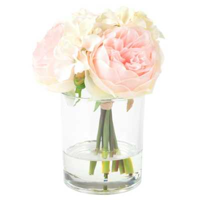7.5 in. Hydrangea and Rose Floral Pink and Cream Arrangement, Reds/Pinks - Home Depot