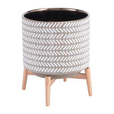 Zuo Modern 11 in. W x 11 in. D x 12.2 in. H Gray and White Ceramic Lomas Planter, Gray & White - Home Depot