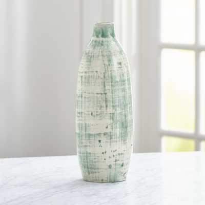 Celeste White and Aqua Vase - Crate and Barrel