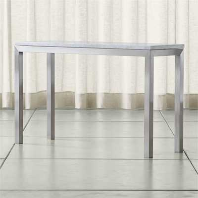 Parsons White Marble Top/ Stainless Steel Base 48x16 Console - Crate and Barrel