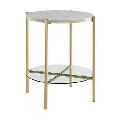 20 Mid Century Round Side Table White Marble/Gold - Saracina Home, White Faux Marble/Gold - Target