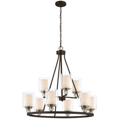 Minka Lavery Studio 5 9-Light Painted Bronze with Natural Brushed Brass Chandelier with Clear Glass Shade - Home Depot