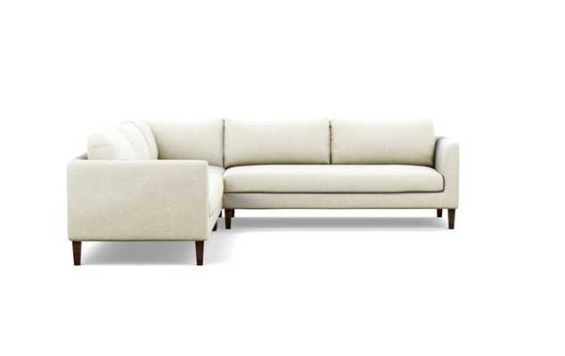 Owens Corner Sectional with White Vanilla Fabric and Oiled Walnut legs - Interior Define