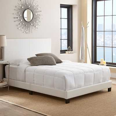 Faux Leather Langley Upholstered Platform Bed Frame Queen White-Eco Dream, White - Target