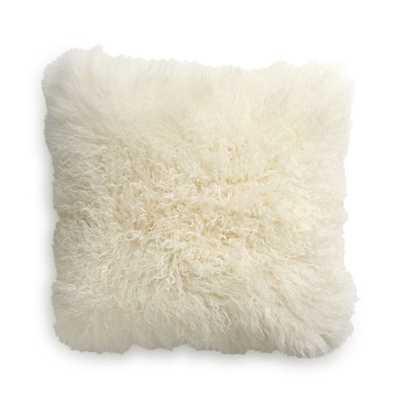 "Pelliccia Ivory Mongolian Sheepskin Pillow Cover 23"" - Crate and Barrel"