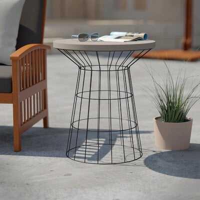 Traci Stone/Concrete Side Table - Wayfair