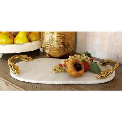 Litton Lane 20 in. W x 2 in. H White Marble Oval Decorative Tray with Gold Leaf-and-Vine-Shaped End Handles, Multi - Home Depot