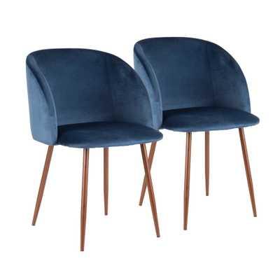 Fran Blue Velvet Dining Chair (Set of 2), Blue/Brown - Home Depot