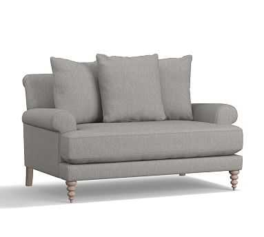 """Amalie Upholstered Loveseat 64"""", Polyester Wrapped Cushions, Sunbrella(R) Performance Sahara Weave Charcoal - Pottery Barn"""