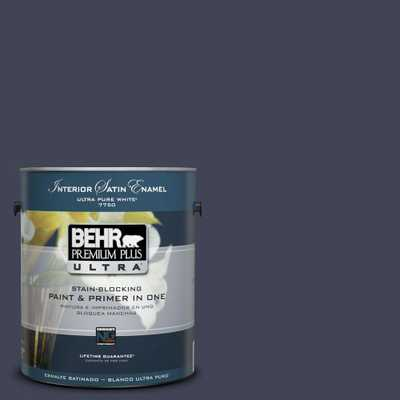 BEHR Premium Plus Ultra 1 gal. #UL240-1 Black Sapphire Satin Enamel Interior Paint and Primer in One, Blues - Home Depot