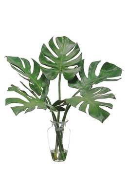 Allstate Faux Monstera Leaves In Glass Vase, Size One Size - Green - Nordstrom